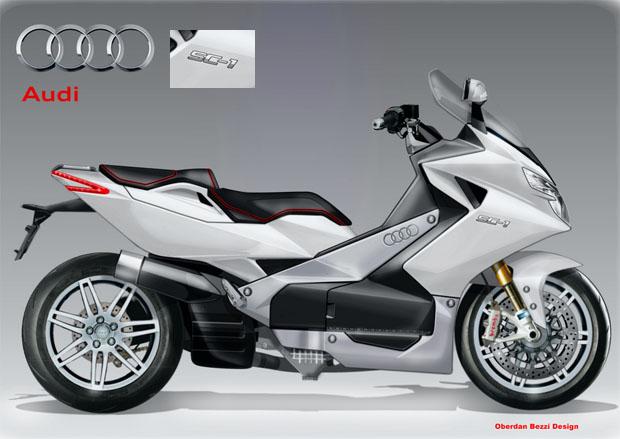 早前編者曾在Facebook報導Audi收購Ducati後,有意借助Ducati的經驗,推出自家品牌的電單車,但據Audi的銷售及市場策劃部門主管透露,車廠的矛頭是BMW C600 Sport及C650GT大羊,按道理,Yamaha TMAX是假想敵之一。 一向喜歡憑空想像的設計師Oberdan Bezzi再獻新猶,在網絡上發表他心目中Adui及Ducati的大羊插圖,兩台車均有Ducati的單尾擔元素,而紅色名為SCOOTER-S 849更使用小量鋼管車架,Audi品牌的SC-1車尾的設計明顯來自Du